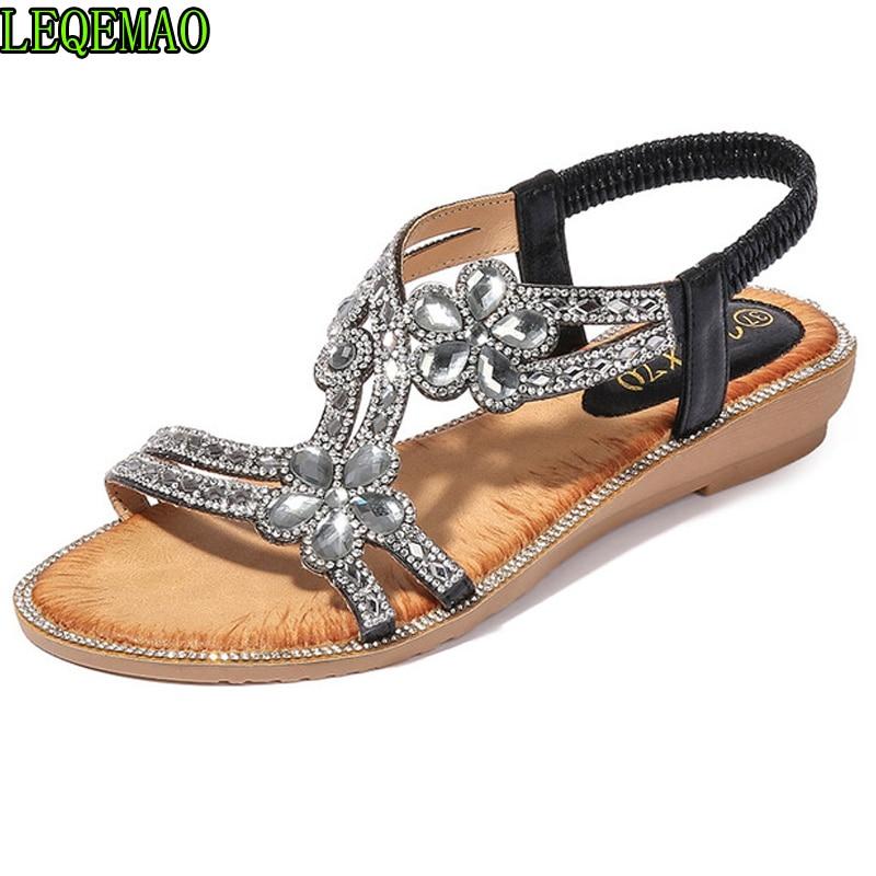 Wedge-Sandals Flower Casual-Shoes Crystal Bling Bohemia Summer Women Ladies Brand Beach