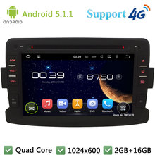 Quad Core 7″ 1024*600 2Din Android 5.1.1 Car DVD Multimedia Player Radio FM DAB+ 3G/4G WIFI GPS Map For Renault Duster 2012 2013