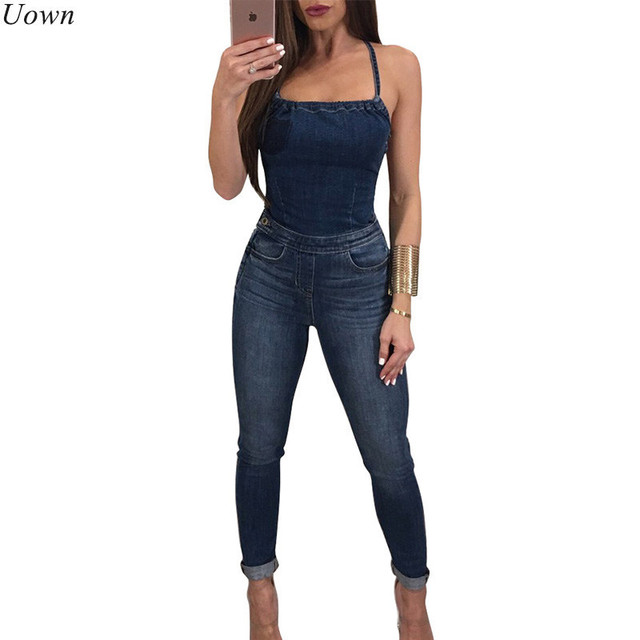 d83c6e18c14 Doyerl Women Blue Denim Jumpsuit Sleeveless Strapless Rompers Cross Back Sexy  Skinny Jeans Jumpsuit Catsuit Macacao