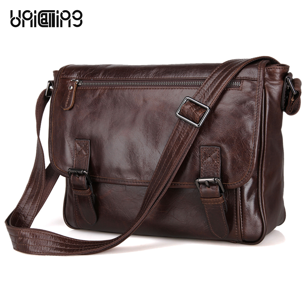 Men Leather Messenger Bag UniCalling Vintage Fashion Genuine Leather Men Bag Cover Casual Men Leather Bag Laptop Bag 13 Inch