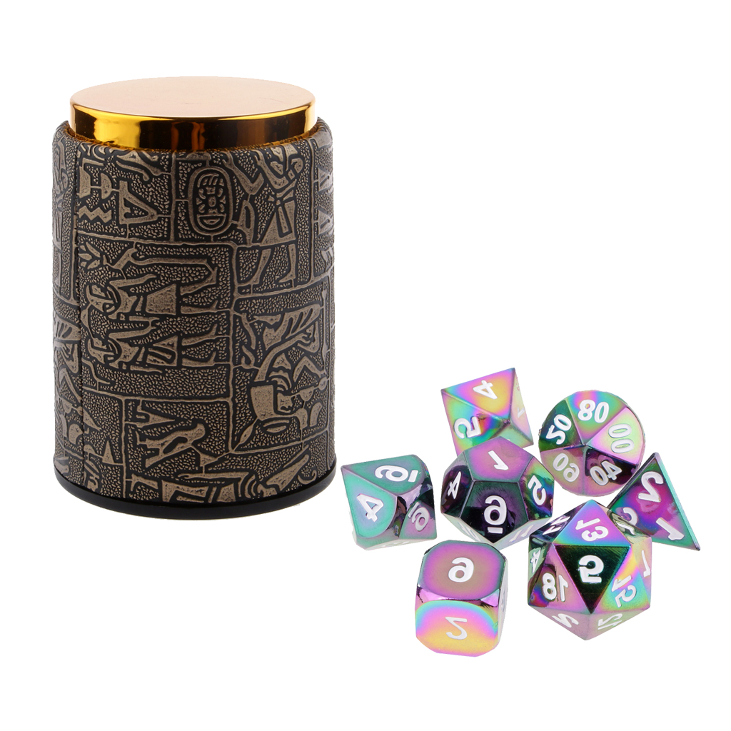 7 Set Metal Polyhedral Dice for Dungeons and Dragons DND MTG +Dice Cup #5