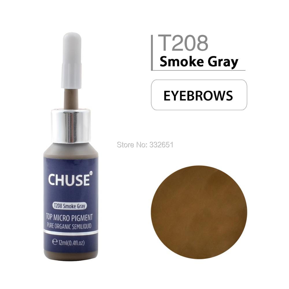 CHUSE T208 Smoke Gray Microblading Micro Pigment Permanent Makeup Tattoo Ink Cosmetic Color Passed SGS DermaTest 12ml 0 4fl oz in Tattoo Inks from Beauty Health