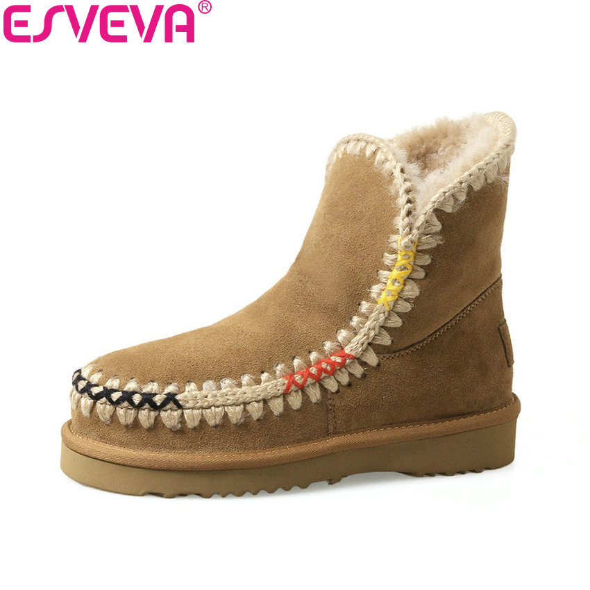 ESVEVA 2017 Women Boots Western Style Comfortable Warm Fur Ankle Boots Round Toe Concise Short Fashion Snow Boots Size 34-39 barbara russano hanning concise history of western music 2e sg