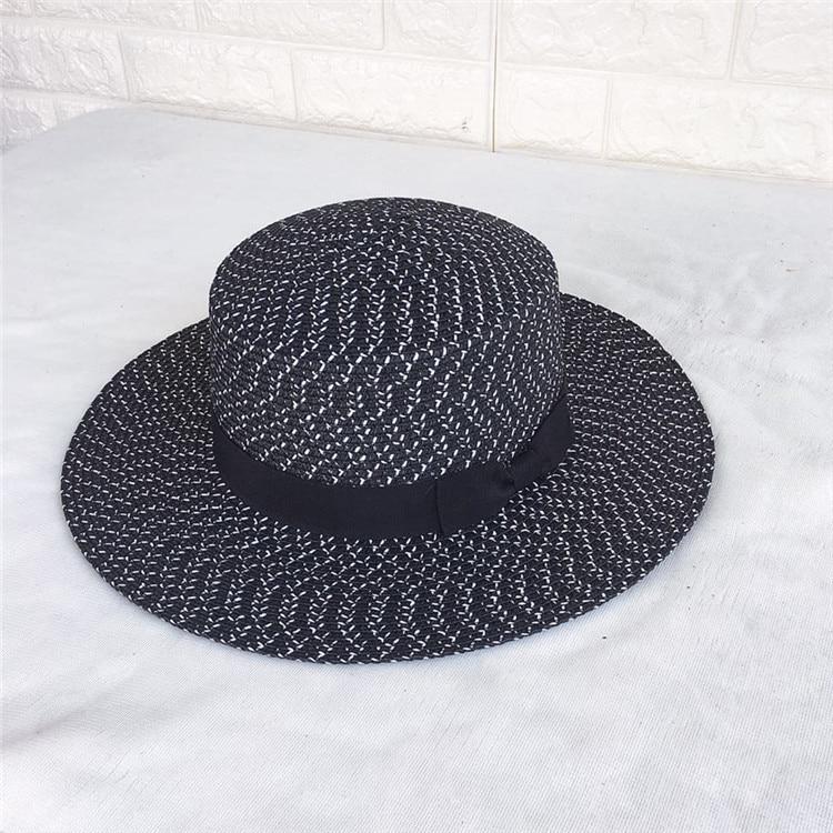 Women Summer Beach Sun hats 2017 Brand Black and white New Flat Top Straw  Hat jazz Hat Men Boater Hats Bone feminino. undefined undefined ab58eb102fac