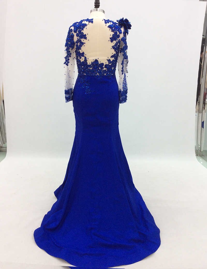 ... Long Sleeve Evening Dresses 2018 Mermaid Beaded Crystal Lace Royal Blue  Women Formal Prom Evening Gown ... 51c0f4041728