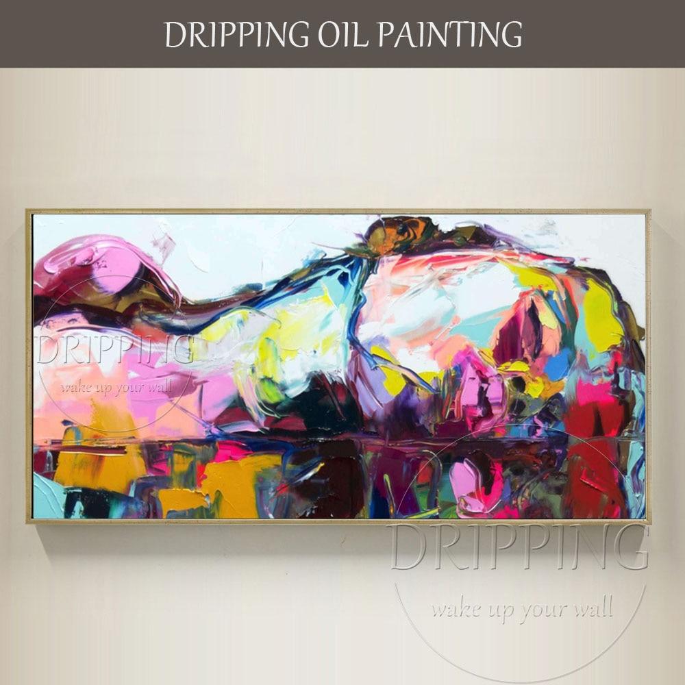 높은 품질 추상 다채로운 사각형 초상화 유화 재현 손으로 그린 francoise nielly 반 얼굴 유화-에서그림 & 서예부터 홈 & 가든 의  그룹 1