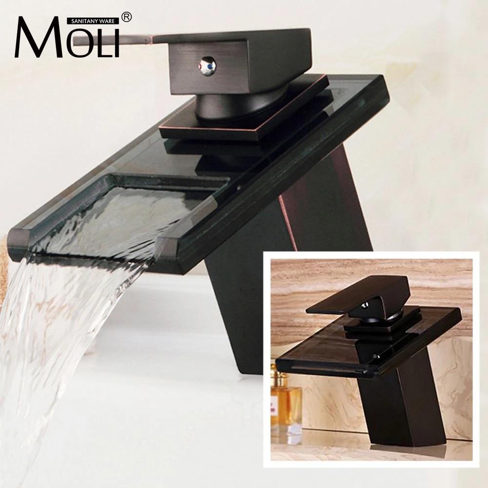 basin faucets bronze tap modern bathroom sink waterfall faucets mixer taps black single handle glass spout ml8102b