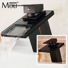 Grifos de bronce para lavabo de baño modernos, grifos mezcladores de cascada, boquilla de vidrio de una sola manija, color negro, ML8102B