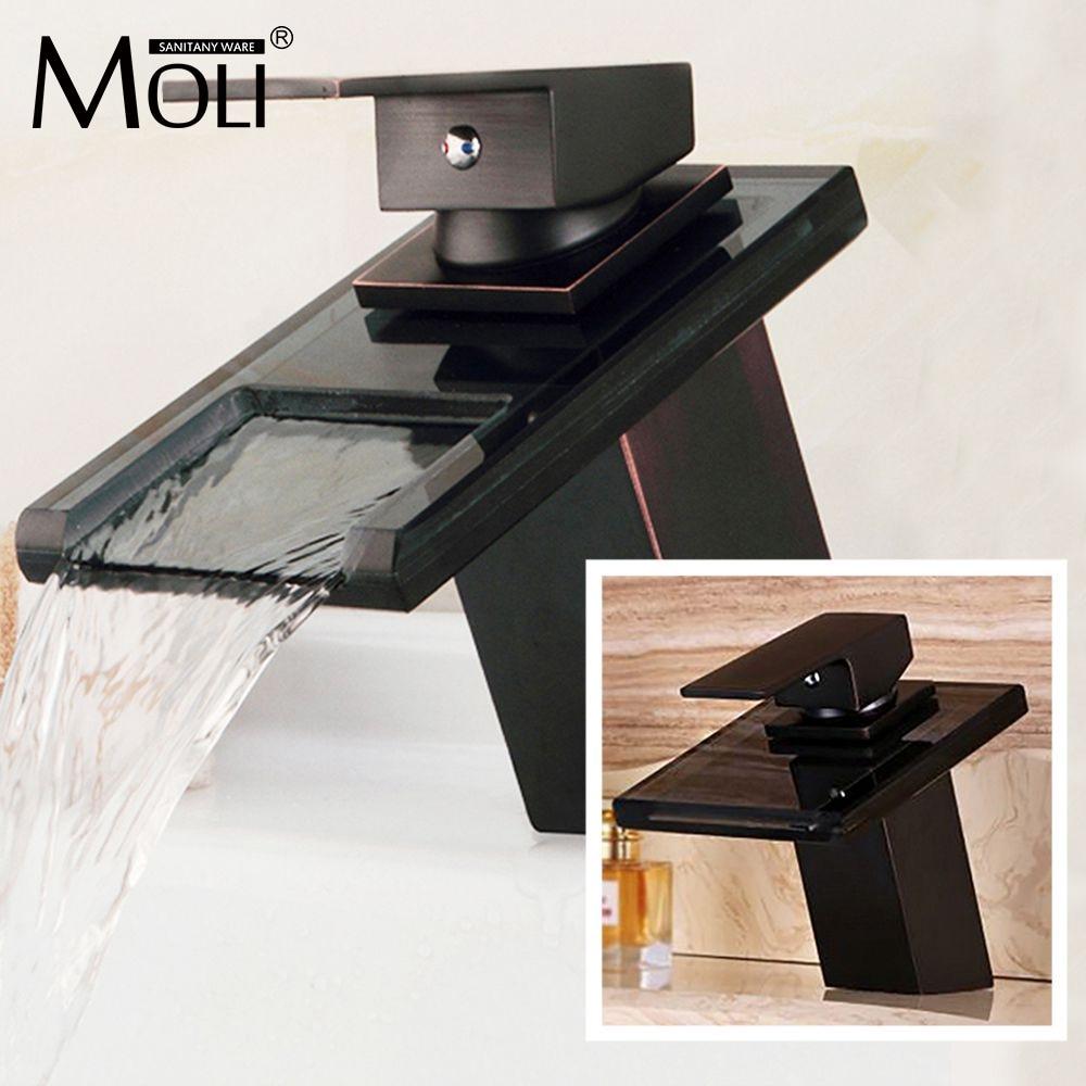 Robinets de bassin robinet en Bronze salle de bains moderne évier cascade robinets mitigeur noir poignée unique bec en verre ML8102B