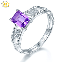Hutang Natural Emerald Cut Amethyst Ring S925 Sterling Silver Purple Gemstone Fine Jewelry Rings For Women