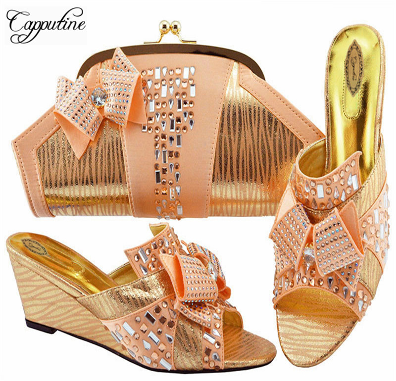 Hot Sell Fashion Rhinestone Beautiful Peach Shoes And Bag Set Africa Summer Style Shoes And Matching Bag Set For Party M1072 itlian style rhinestone slipper shoes and matching bag set new africa high heels shoes and bag set for party size 38 43