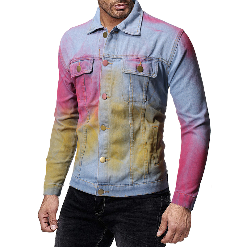 Mens' Autumn Winter Long Sleeve Vintage Distressed Demin Jacket Top Coat Outwear Spring Men Jackets