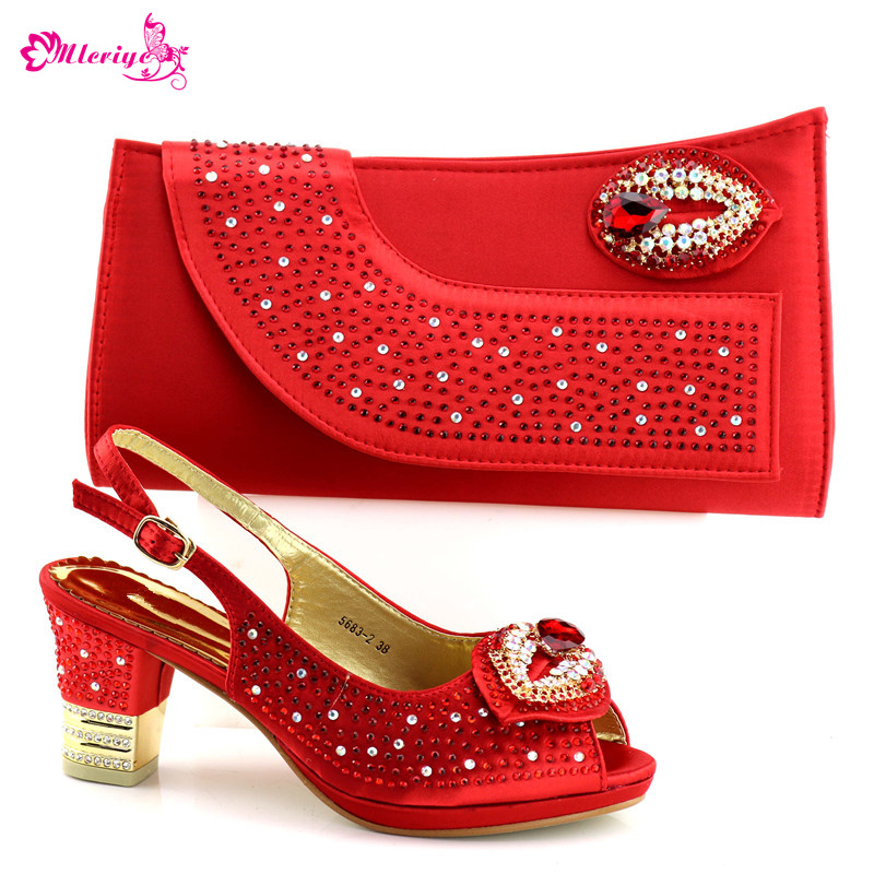 5683-2 Ladies Italian PU Leather Shoe and Bag Set RED Italian Shoe with Matching Bag Set 2018 Nigerian Shoes and Bag Set