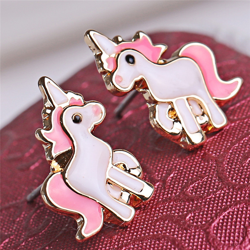 Hot Sale Pink Animal Jewelry Set Chain Kids Jewelry Cartoon Horse Unicorn Necklace Earring Jewelry Sets For Girls Best Gifts