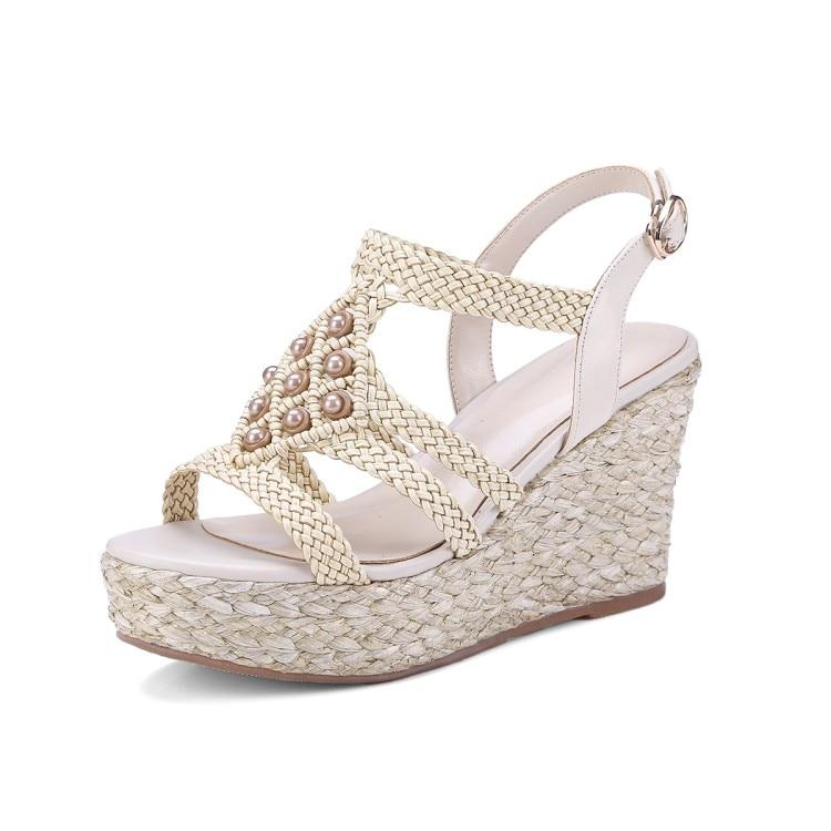 2018 Plate Pêcheur Couleur Brun Cales Vache Femmes En Sandales Chaussures Apricot Mljuese Perles D'orteil Ouvert brown Plages forme Cuir dw687d