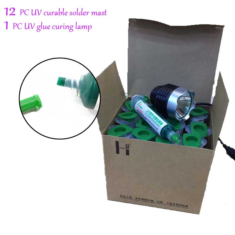 12 PC 10cc UV curable solder mast Mobile phone PCB circuit board protection paint fly line solder oil +UV glue curing lamp free shipping 3pcs 3color uv curable solder mask 10cc for pcb circuit board protect soldering paste flux oil