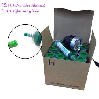 12 PC 10cc UV curable solder mast Mobile phone PCB circuit board protection paint fly line solder oil +UV glue curing lamp