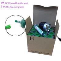 12 STÜCK 10cc uv-härtende solder mast handy PCB LEITERPLATTEN bord schutzlack fliegenschnur solder öl + UV kleber aushärtelampe