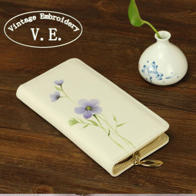 Vintage Embroidery Women Clutch Cotton Canvas Long Wallet ink Retro hand-painting Original Tourist Purse Phone Purse Coin bag