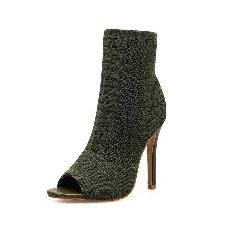 ec0d8b9a3c40a Frauen Stiefel Grün Elastische Stricken Socke Stiefel Damen Offene spitze  High Heels Mode Kardashian Stiefeletten Frauen Pumpen