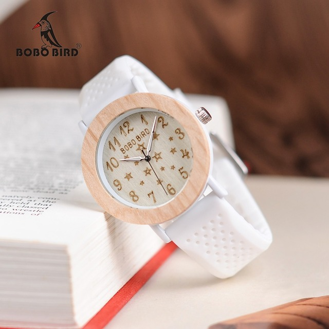 BOBO BIRD Timepieces Women Wood Watches Soft Silicone Band Starry Sky Fashion De
