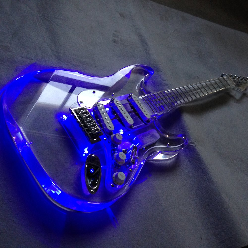 new style led light st electric guitar with full acrylic body in guitar from sports. Black Bedroom Furniture Sets. Home Design Ideas