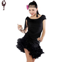 Hot Sale !! 2016 New Latin Dance Dress Dance Clothes 6colors Top+Dancing Skirt Free Shipping Adult Costumes For Performances