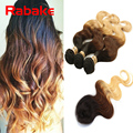 Ombre Brazilian Hair with Small Closure Human Hair Products Top 4 Bundles Human Hair Weft with 1pc Small Lace Closure 1B/33/27