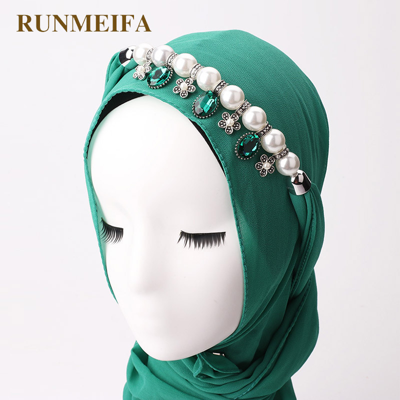 RUNMEIFA Hot Sale Pearl Chiffon Scarf Muslim Women Solid Hijab With Alloy Pendants Jewelry Necklaces Scarves Collar Hijabs