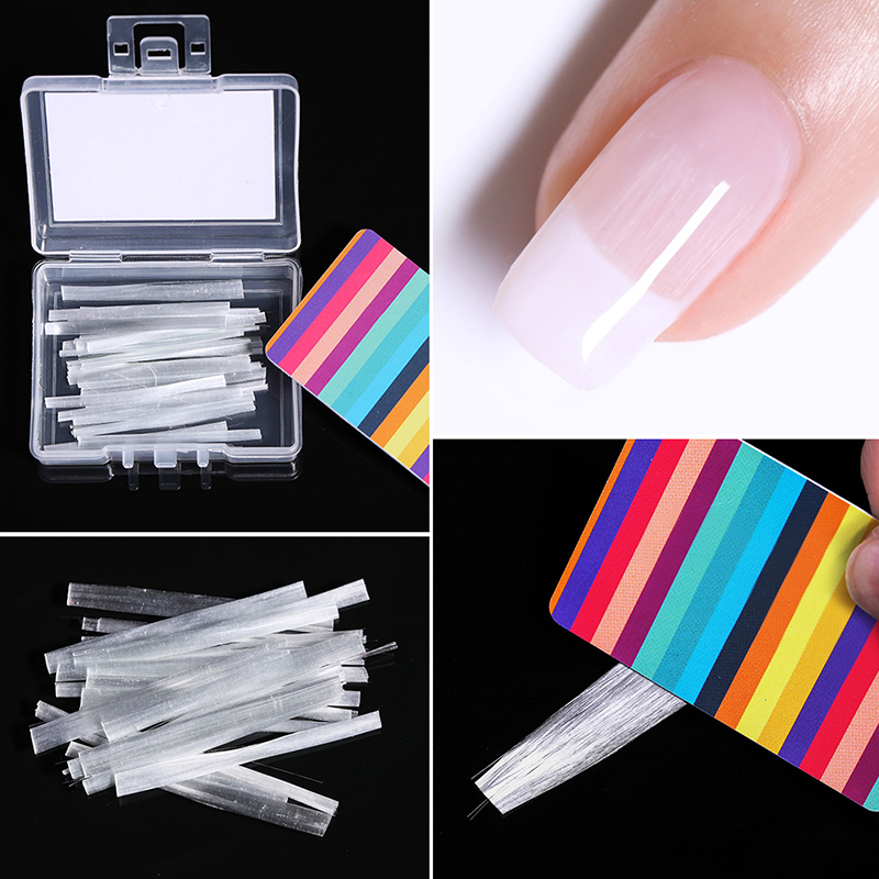 20Pcs/Box Nail Extension Glass Fiber White Acrylic Tips Nail Silk Extension Professional Nail Spa With Scraper Tool