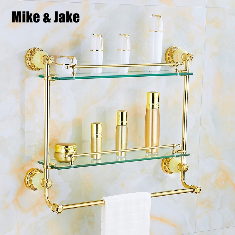 Étagère en verre doré étagère de salle de bain avec jade en laiton doré étagère cosmétique en verre étagère de salle de bain étagère d'angle pour salle de bain