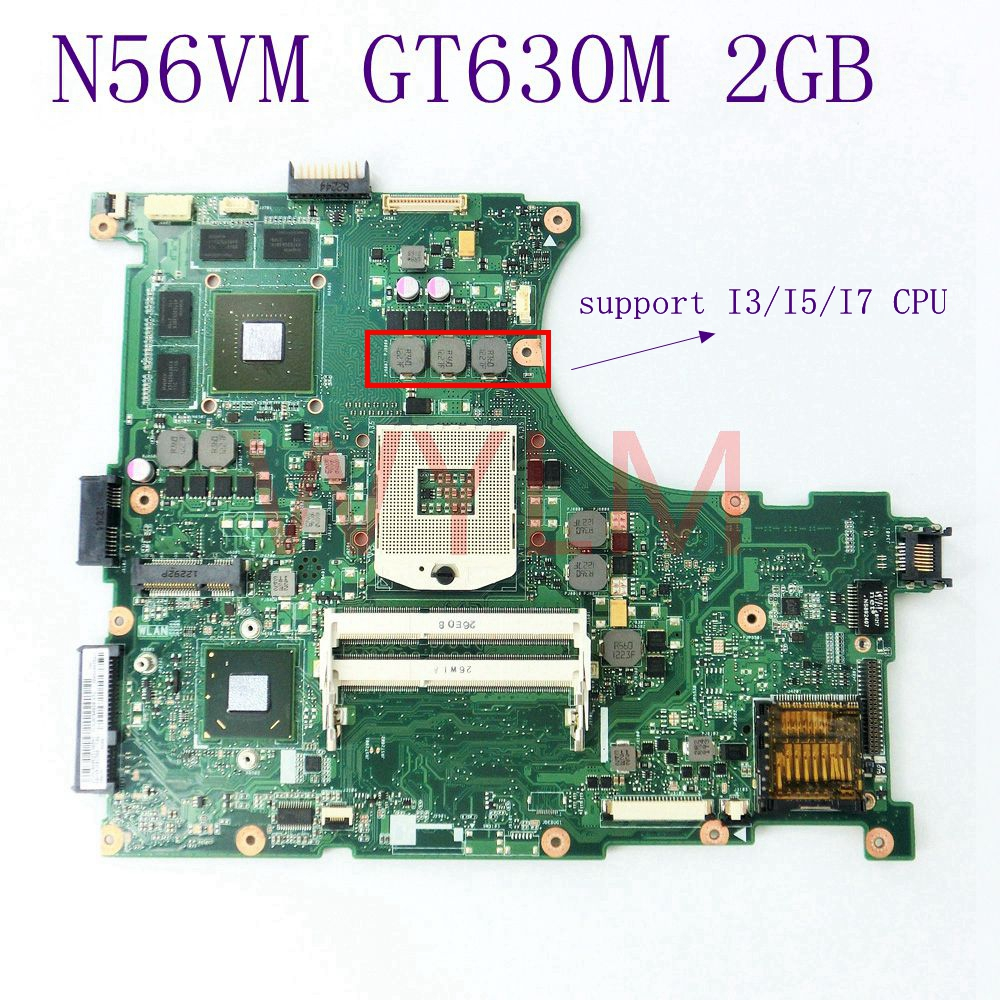 все цены на N56VM GT630 2G N13P-GL-A1 mainboard For ASUS N56V N56VM N56VV N56VJ N56VB N56VV N56VZ Laptop motherboard DDR3 Fully Tested онлайн