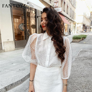 Women Chiffon Blouse Transparent Mesh Beading Puff Sleeve  1