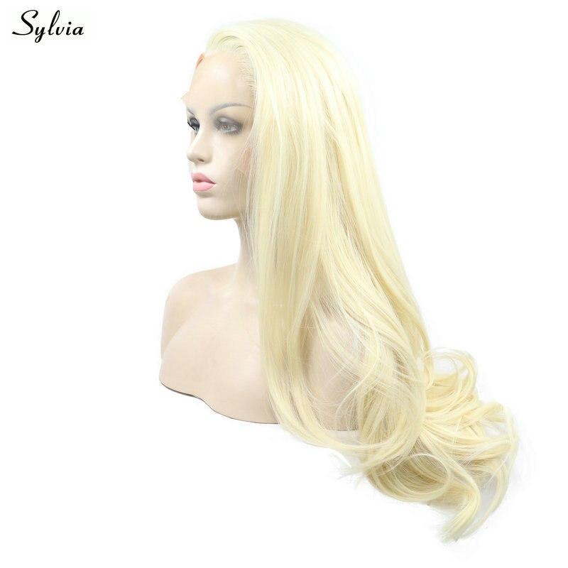 Sylvia натуральный волос Синтетические волосы на кружеве белокурый парик Выделите оранжевый волосы длинные волнистые термостойкие Волокно 2 ...
