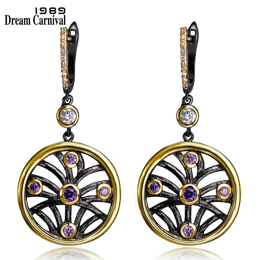 DreamCarnival 1989 Worldwide Dostava Krog Hollow obesek Ženske kapljico uhani črna zlata barva vijolična CZ obletnica nakit