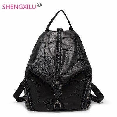 ФОТО Shengxilu patchwork women backpacks korean black girls shoulder bag fashion brand travel genuine leather women bags