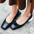 Aiweiyi nueva moda mujeres del cuero genuino zapatos 34-44 del dedo del pie cuadrado de tacón bajo las bombas oficina de señora sexy zapatos de mujer zapatos casuales