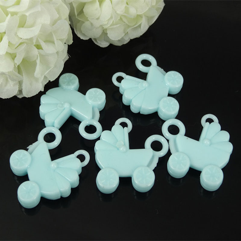 LANSSEN 60pcs 28x30mm Acrylic carriage solid Blue Baby Shower Favors baptism gift Keychain DIY accessary party supply