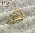 Corazón 8.00x8.00mm Cut 14 K Oro Amarillo Natural 0.35ct Allanar Conjunto de Diamantes Anillo de Montaje Semi