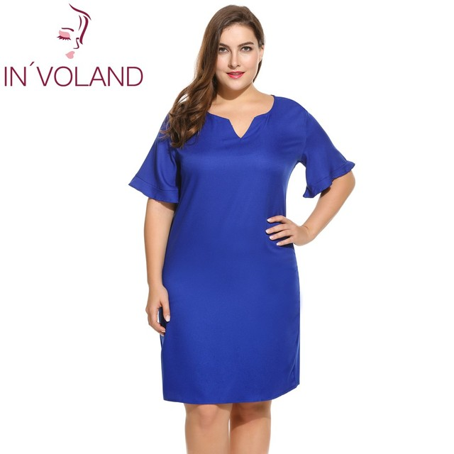 IN VOLAND Women s Casual Dress Oversized Notch Neck Flare Sleeve Solid  Shift Beach Dresses Feminino Vestiods Plus Size L-4XL e1887a08f36a
