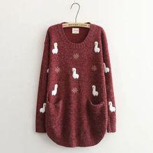 b3ca80e6482b8 Cute Alpaca Women s Pullover Sweaters Cartoon Embroidered Loose Mori Girl  Knitwear(China)