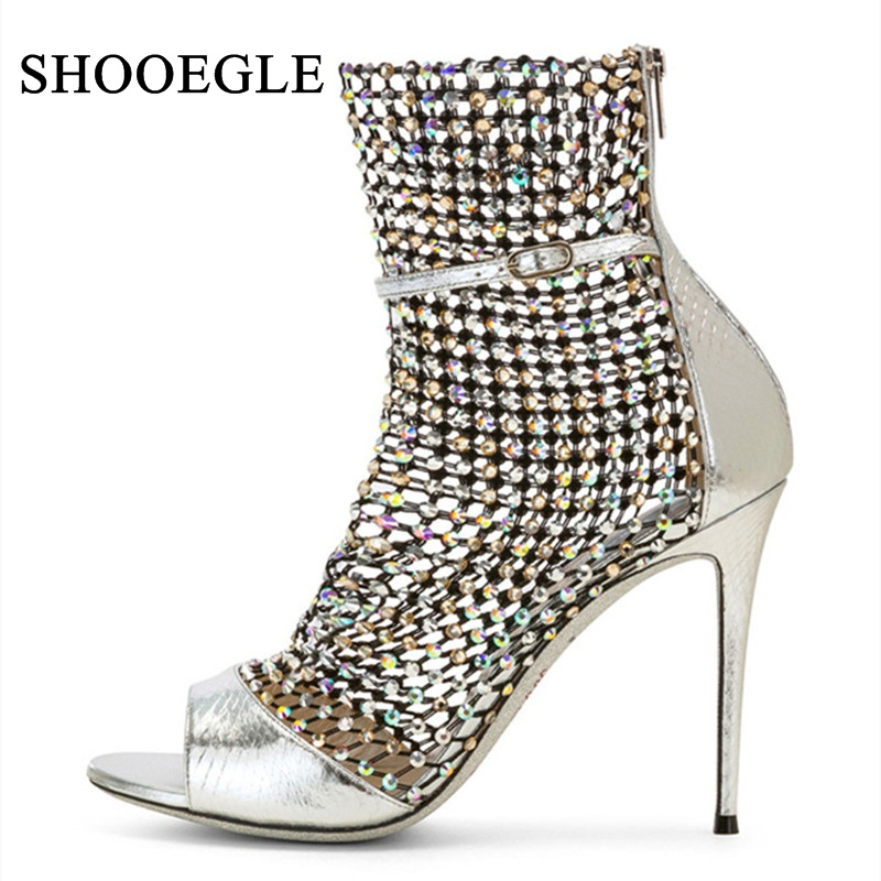 Sexy Peep Toe Ankle Sandals Boots Women Mesh Cut Out Pumps Thin High Heels Lady Buckle
