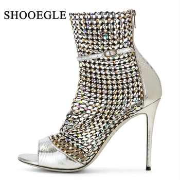 Sexy Peep Toe Mesh Summer Boot Women Cut Out Ankle Strap Sandals High Heels Lady Buckle Strap Gladiator Boots Sandalias Mujer - DISCOUNT ITEM  42% OFF All Category