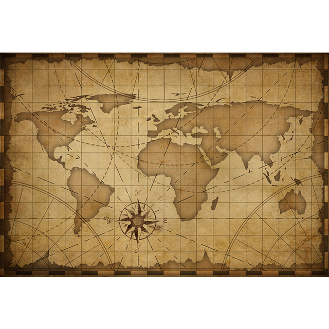 World Map Old Style.Retro Old Style Brown Color World Map Backdrop Printed Continents
