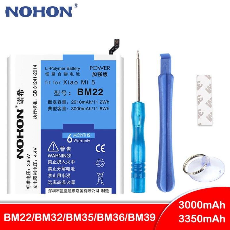 Original NOHON BM22 BM35 BM36 Bateria Para Xiao mi mi 6 5 4 5S 4C 6 5 mi mi mi 4C mi 5S BM32 BM39 Substituição de Baterias de Telefone Celular
