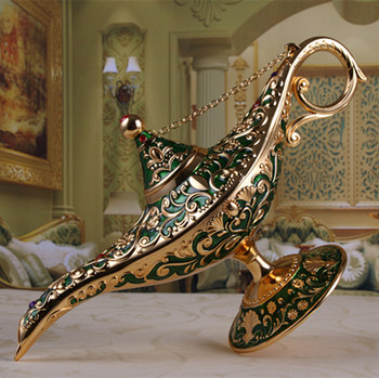 Metal Crafts Home Room Adornment Creation European Style Retro Lovely Enamel  Lamp Desk Decoration  Home Decoration 1