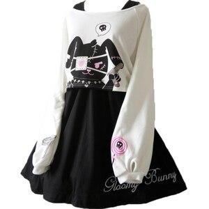 Image 1 - נשים Harajuku קומיקס ארנב שחור מלא שרוול שמלת יפני לוליטה גותי הדפסת ארנב Kawaii Vestidos חמוד ילדה Junior שמלות