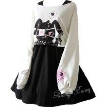 Kobiety Harajuku komiks królik czarna sukienka z długim rękawem japoński Lolita Gothic Bunny drukuj Kawaii Vestidos ładna dziewczyna Junior sukienki