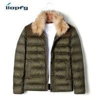 2017 зимний холод тепло Для мужчин хлопок 90% Костюмы бренд Для Мужчин's Повседневное модные короткие пункт высокого Класс Ткань мужская куртка