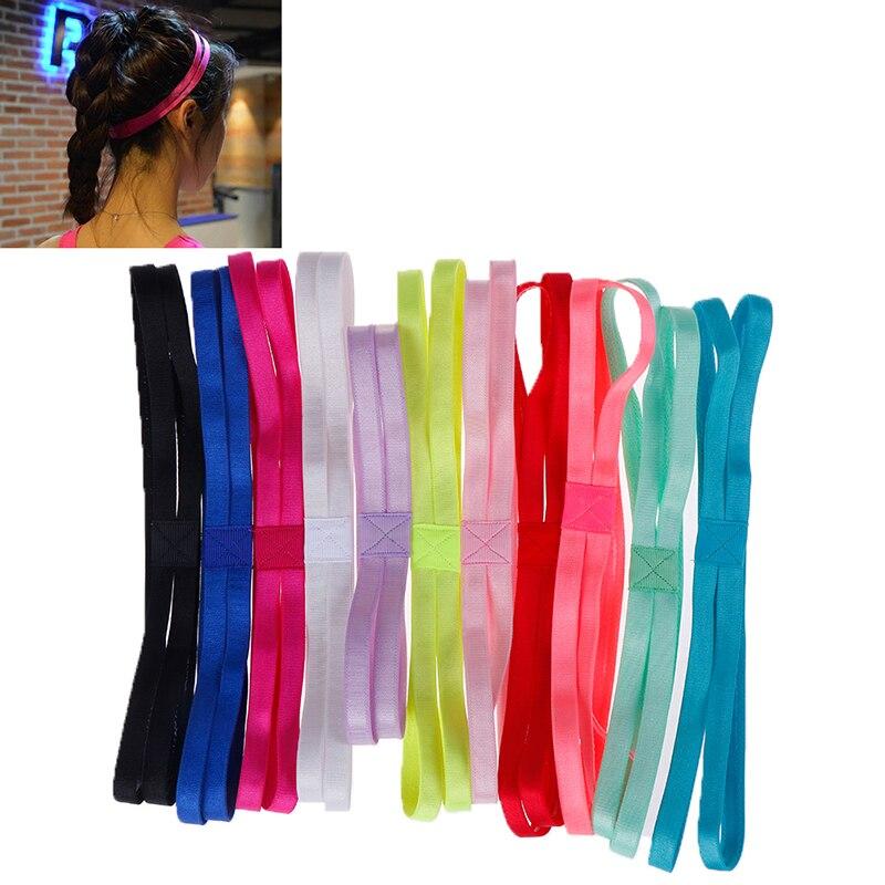 @1  1 пара двойная спортивная эластичная повязка на голову 11 цветов мужчины женщины йога противоскользя ①